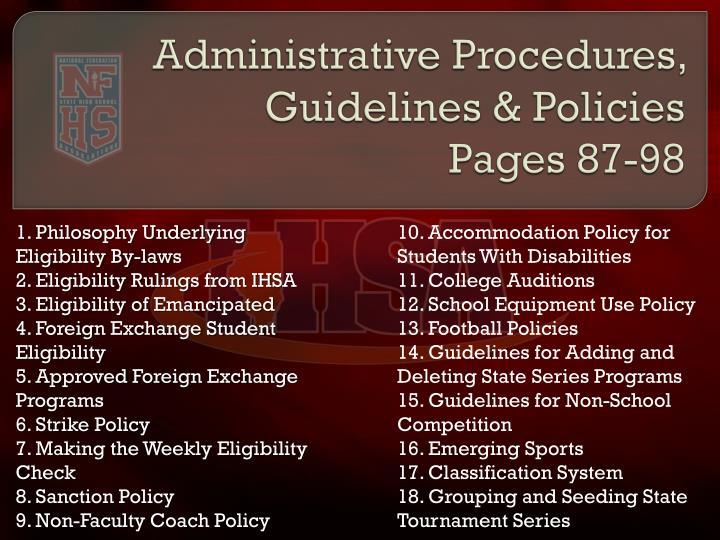 Administrative Procedures, Guidelines & Policies