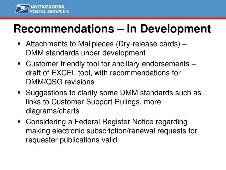 Recommendations – In Development