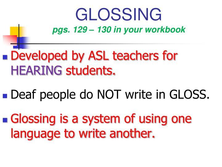 GLOSSING