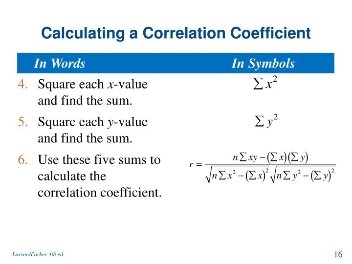 Calculating a Correlation Coefficient