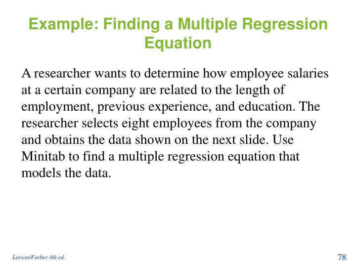 Example: Finding a Multiple Regression Equation
