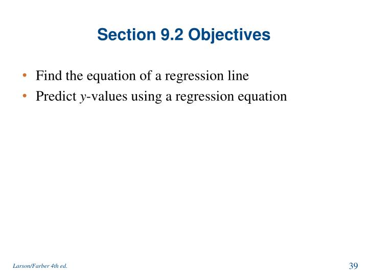 Section 9.2 Objectives