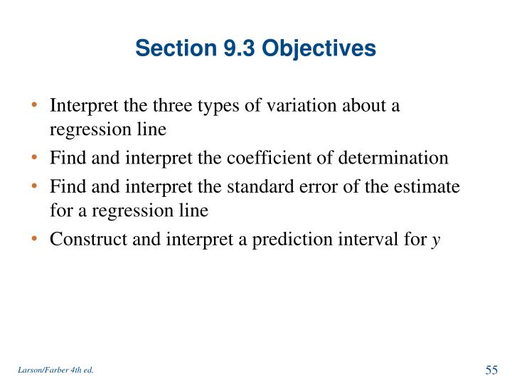 Section 9.3 Objectives