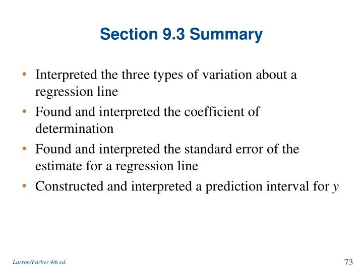 Section 9.3 Summary