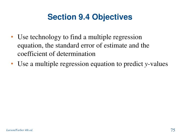 Section 9.4 Objectives