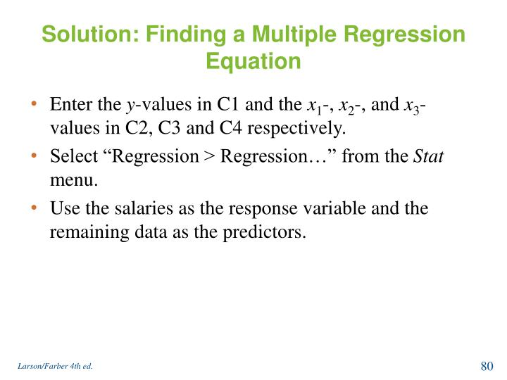 Solution: Finding a Multiple Regression Equation