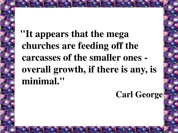 """""""It appears that the mega churches are feeding off the carcasses of the smaller ones - overall growth, if there is any, is minimal."""""""