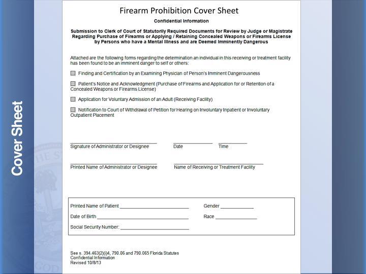 Firearm Prohibition Cover Sheet