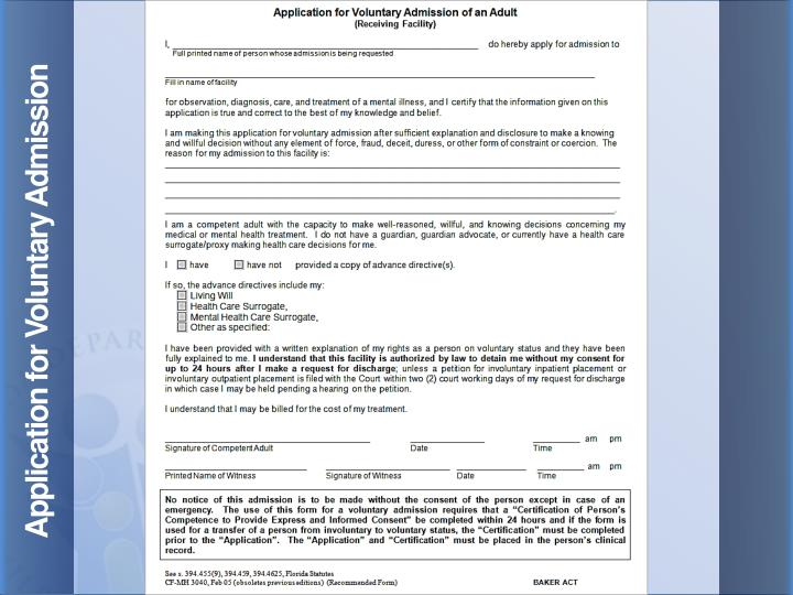 Application for Voluntary Admission