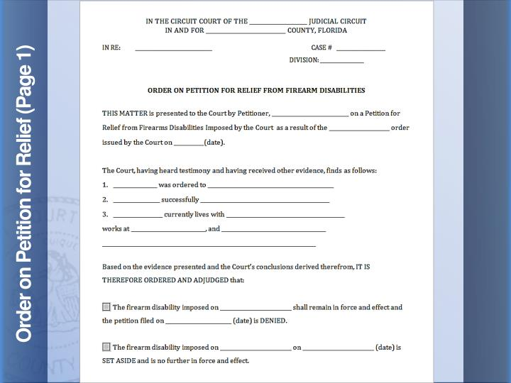 Order on Petition for Relief (Page 1)