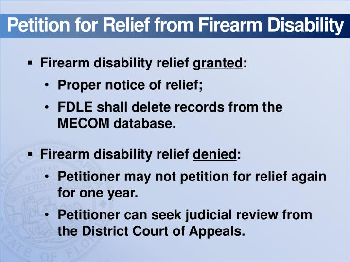 Petition for Relief from Firearm Disability