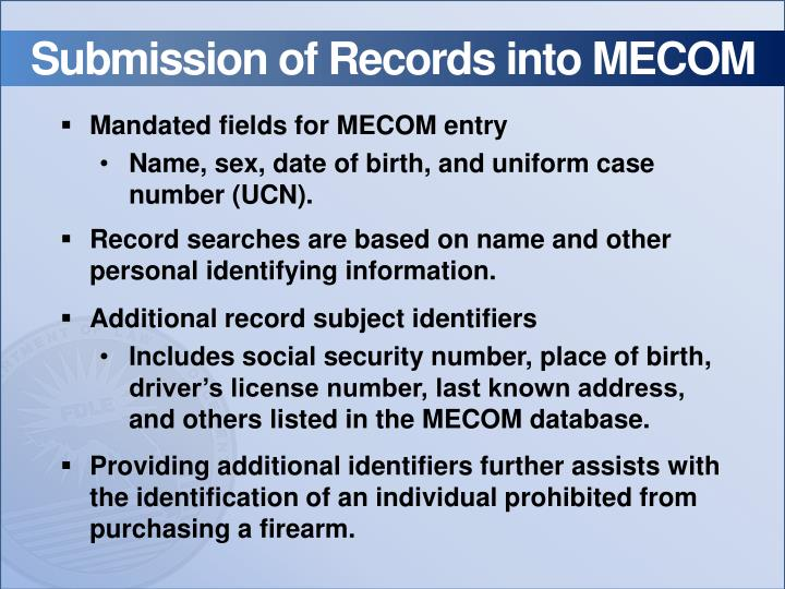 Submission of Records into MECOM