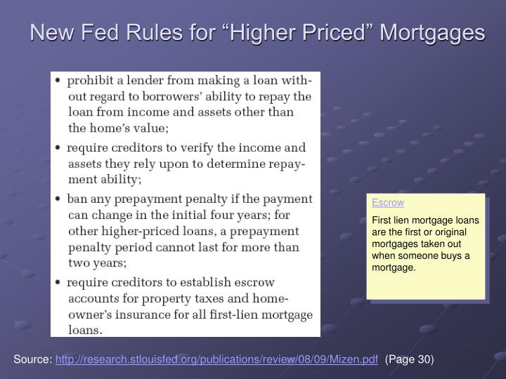 """New Fed Rules for """"Higher Priced"""" Mortgages"""