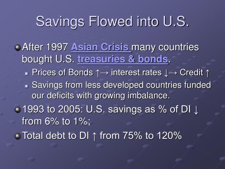 Savings Flowed into U.S.