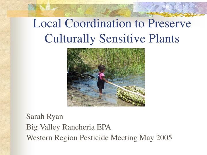 Local coordination to preserve culturally sensitive plants