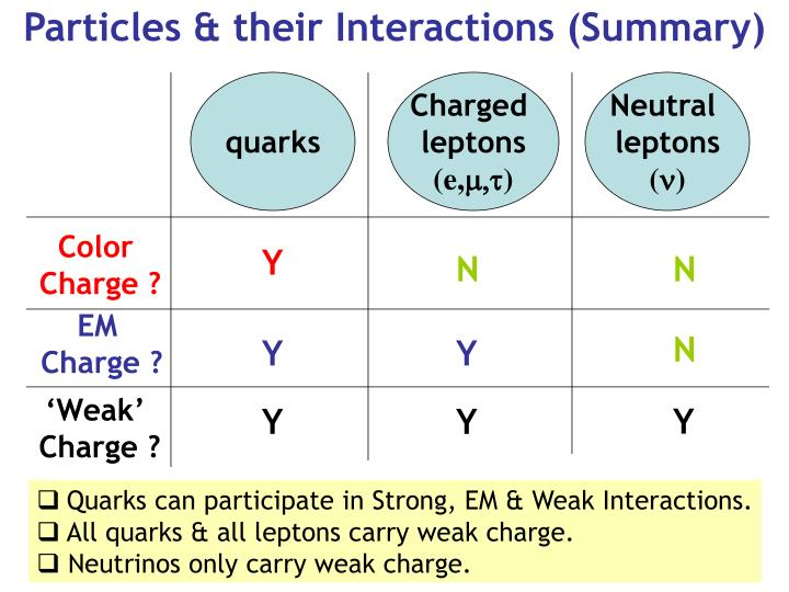 Particles & their Interactions (Summary)