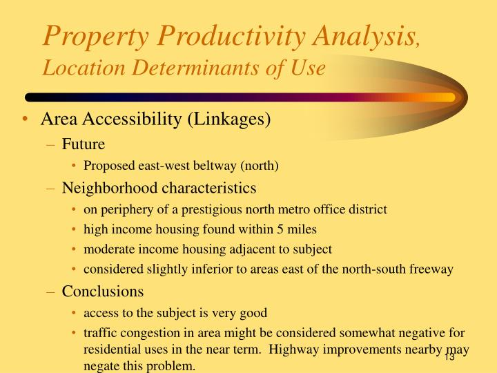 Property Productivity Analysis
