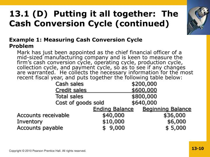 13.1 (D)  Putting it all together:  The Cash Conversion Cycle (continued)