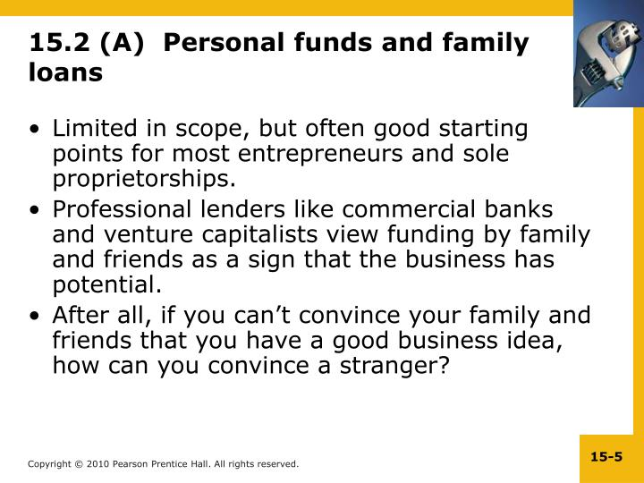 15.2 (A)  Personal funds and family loans
