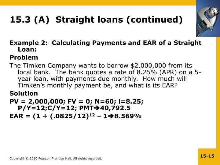 15.3 (A)  Straight loans (continued)