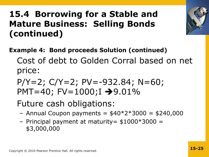 Example 4:  Bond proceeds Solution (continued)