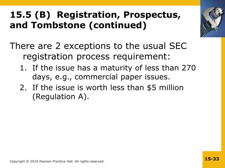 15.5 (B)  Registration, Prospectus, and Tombstone (continued)