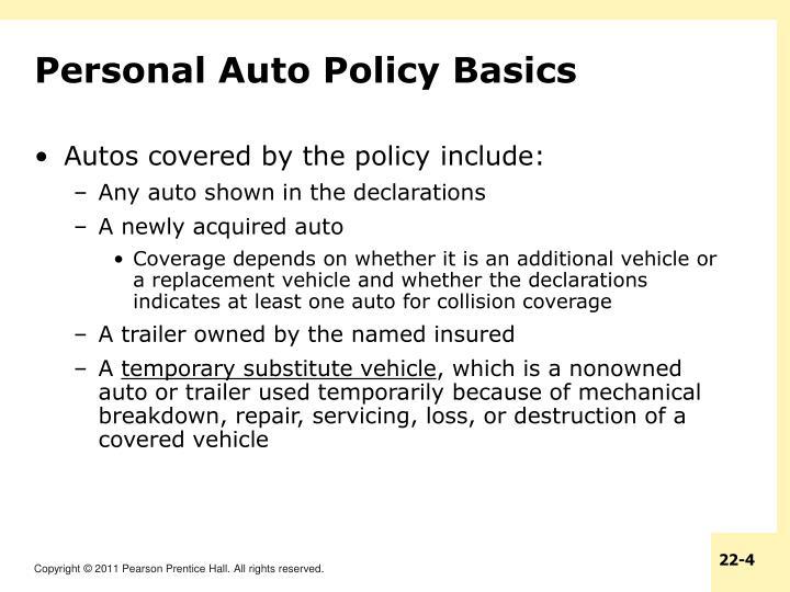 Personal Auto Policy Basics