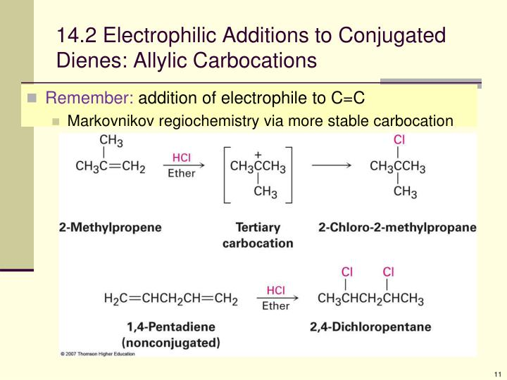 14.2 Electrophilic Additions to Conjugated Dienes: Allylic Carbocations