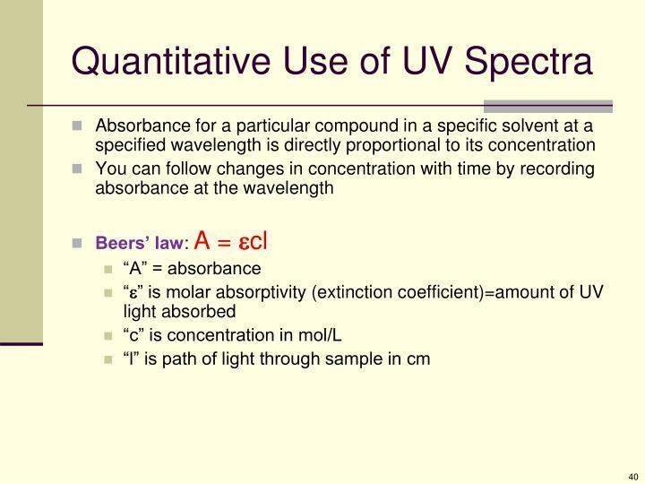 Quantitative Use of UV Spectra