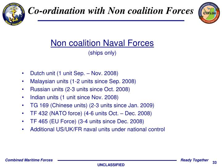Co-ordination with Non coalition Forces