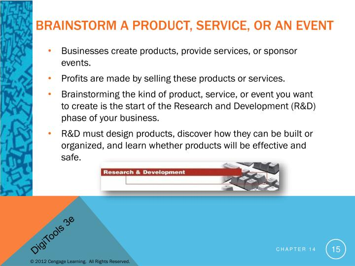 Brainstorm a Product, service, or an event