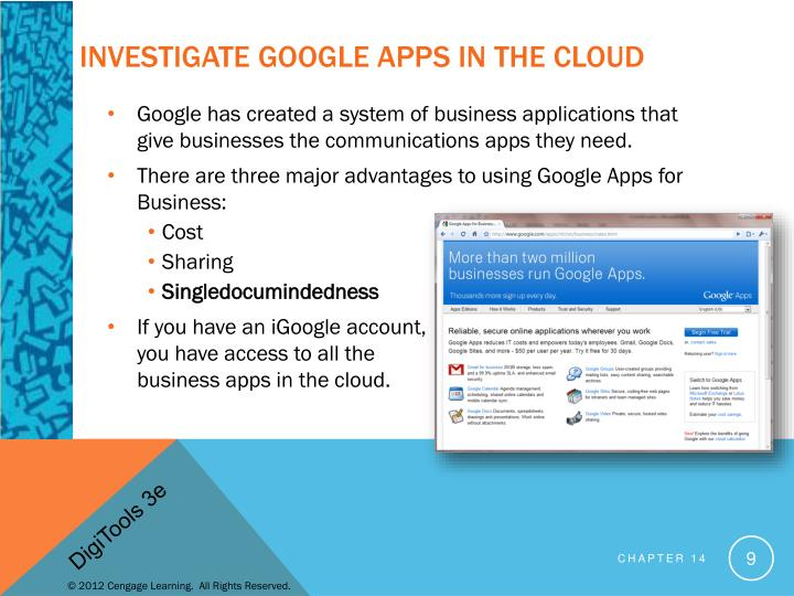 Investigate Google Apps in the Cloud