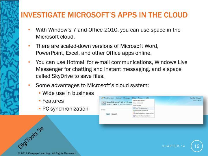 Investigate Microsoft's Apps in the Cloud