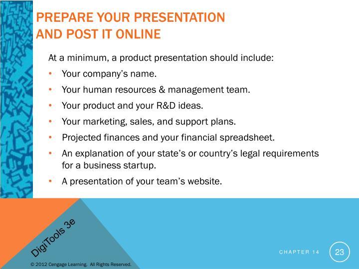Prepare your Presentation