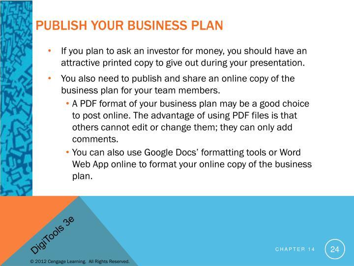 Publish Your Business Plan
