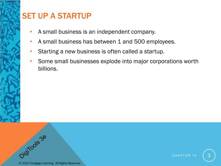Set up a Startup