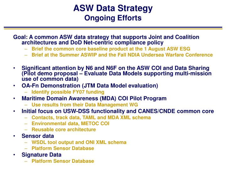 ASW Data Strategy