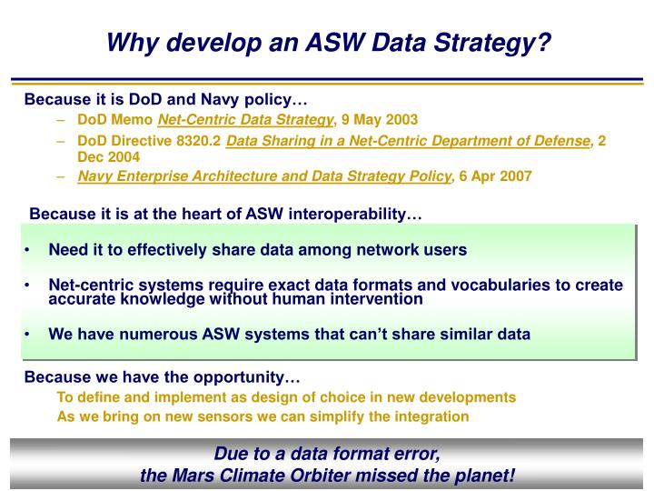 Why develop an ASW Data Strategy?