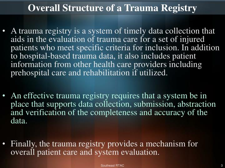 Overall Structure of a Trauma Registry