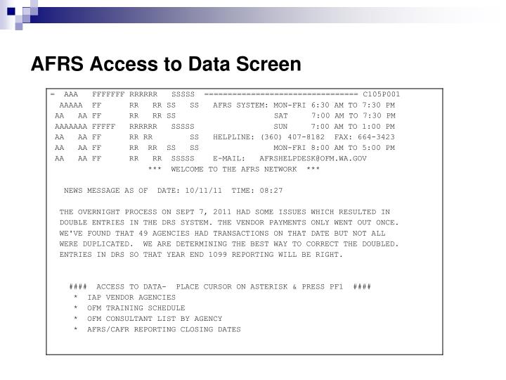 AFRS Access to Data Screen
