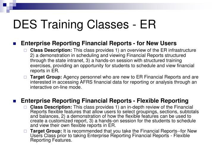 DES Training Classes - ER