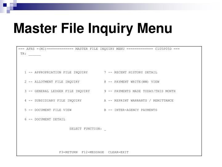 Master File Inquiry Menu