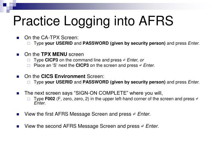 Practice Logging into AFRS