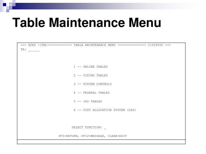 Table Maintenance Menu