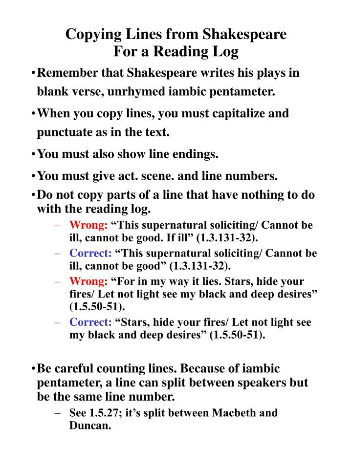 Copying Lines from Shakespeare