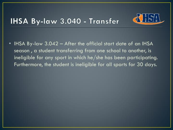 IHSA By-law 3.040 - Transfer