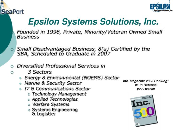 Epsilon systems solutions inc
