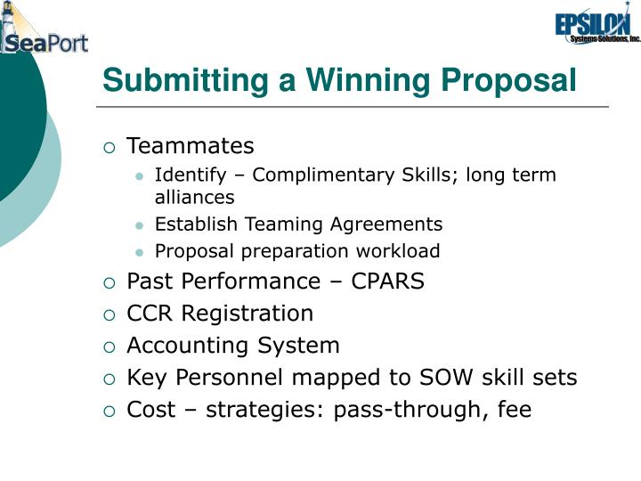 Submitting a Winning Proposal