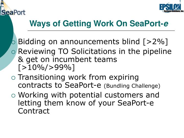 Ways of Getting Work On SeaPort-