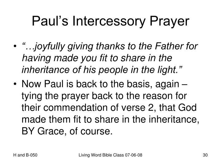 Paul's Intercessory Prayer